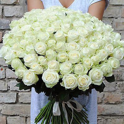 Букет 101 нежная белая роза
