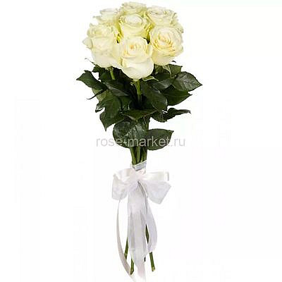 Букет 9 белых роз с лентой