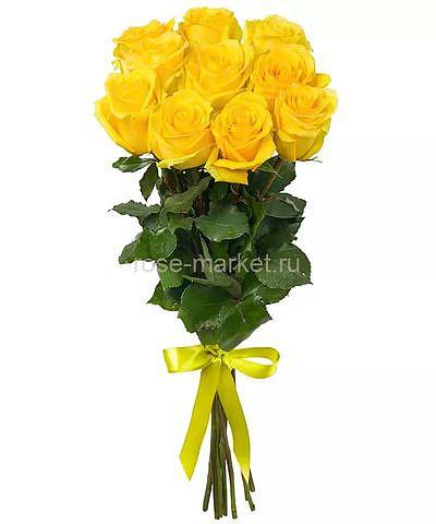 Букет 9 жёлтых роз с лентой